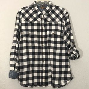 JACHS Girlfriend Black & White Plaid Flannel Shirt
